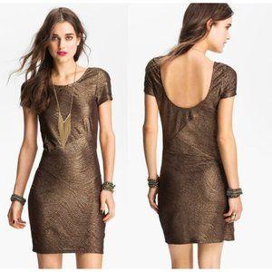 Free People Metallic Bronze Gold Bodycon Dress